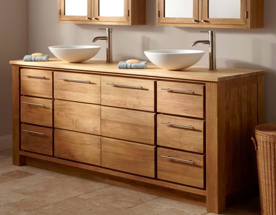 Solid wood double sink bathroom vanity