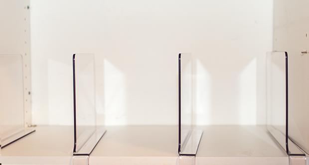 acrylic shelf dividers for closet