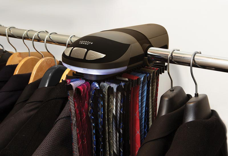 motorized tie rack for wire closet