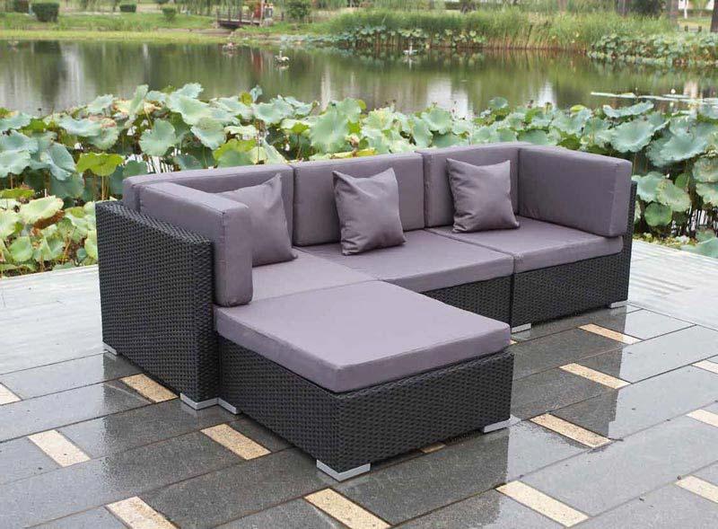 Black Rattan Corner Garden Furniture
