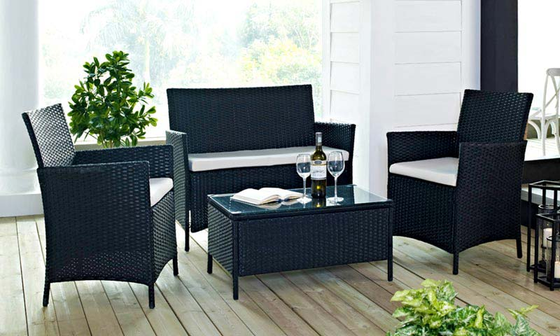 Black Rattan Outdoor Garden Furniture Table And Chair Set