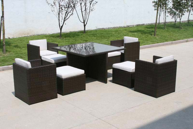 Cube 4 Seater Garden Rattan Table And Chairs Set