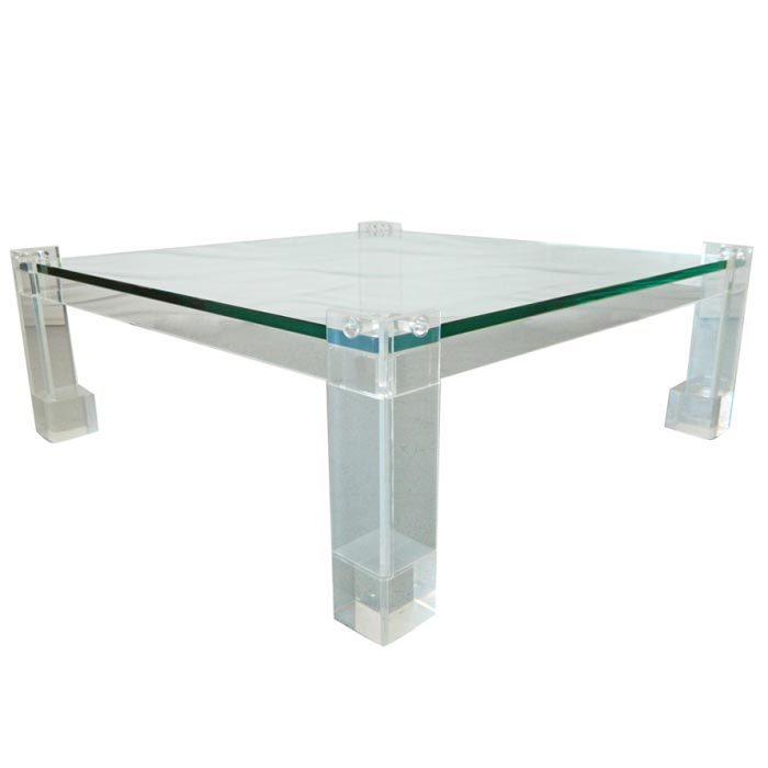 Lucite And Glass Coffee Table