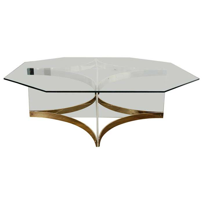 Lucite Brass Coffee Table