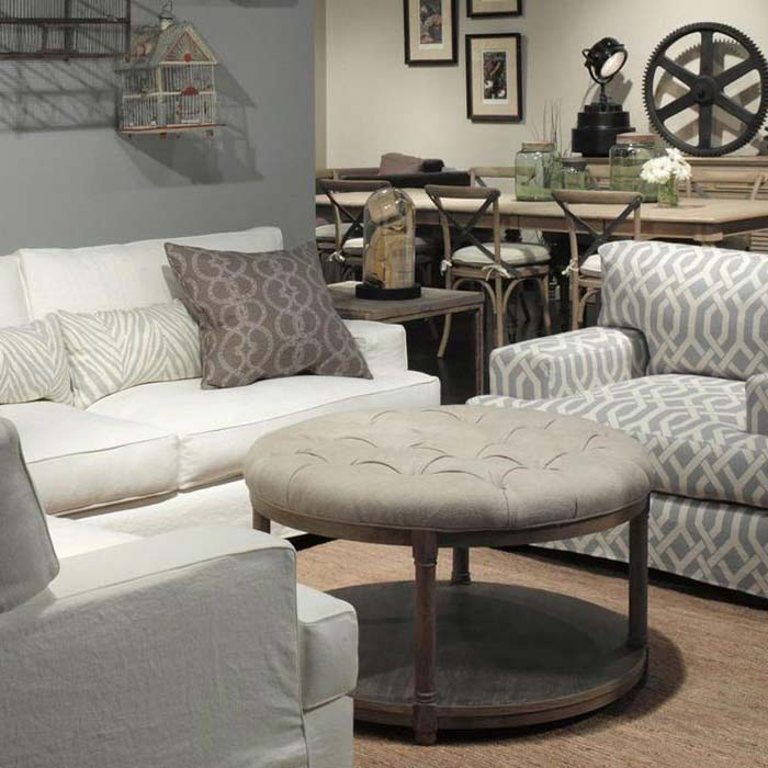 Round Upholstered Coffee Table