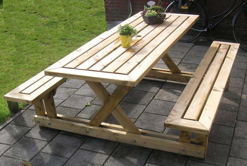 Wooden Garden Table And Benches