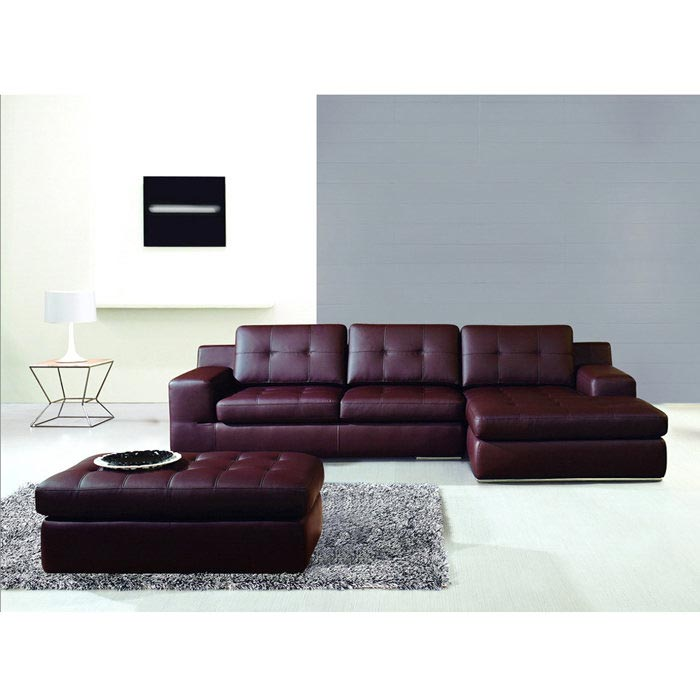 3 Piece Leather Sectional Sofa With Chaise