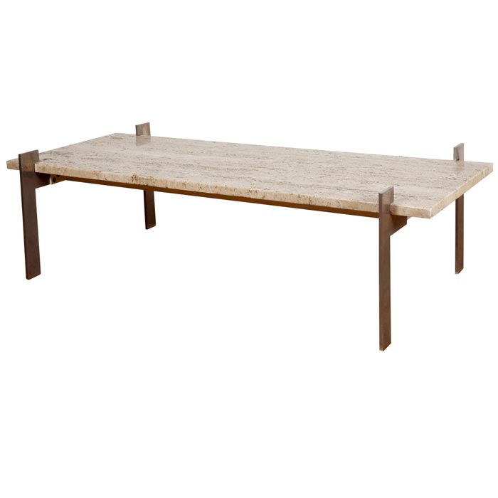 Coffee Table With Travertine Top
