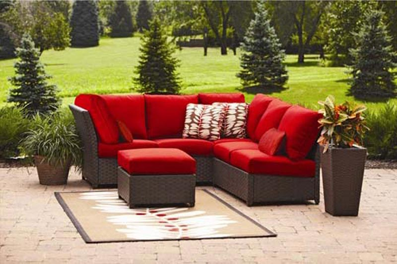 Rushreed 3 Piece Outdoor Sectional Sofa Set Red Seats 5