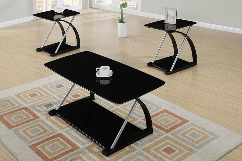 3 Piece Black Finish Coffee Table Set Queen Anne