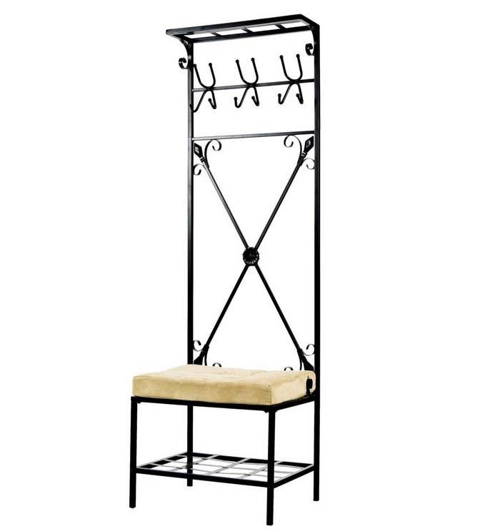 Black Metal Entryway Storage Bench With Coat Rack