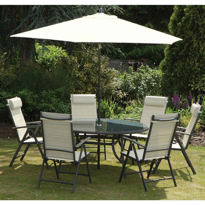 Garden Table 6 Chairs And Parasol