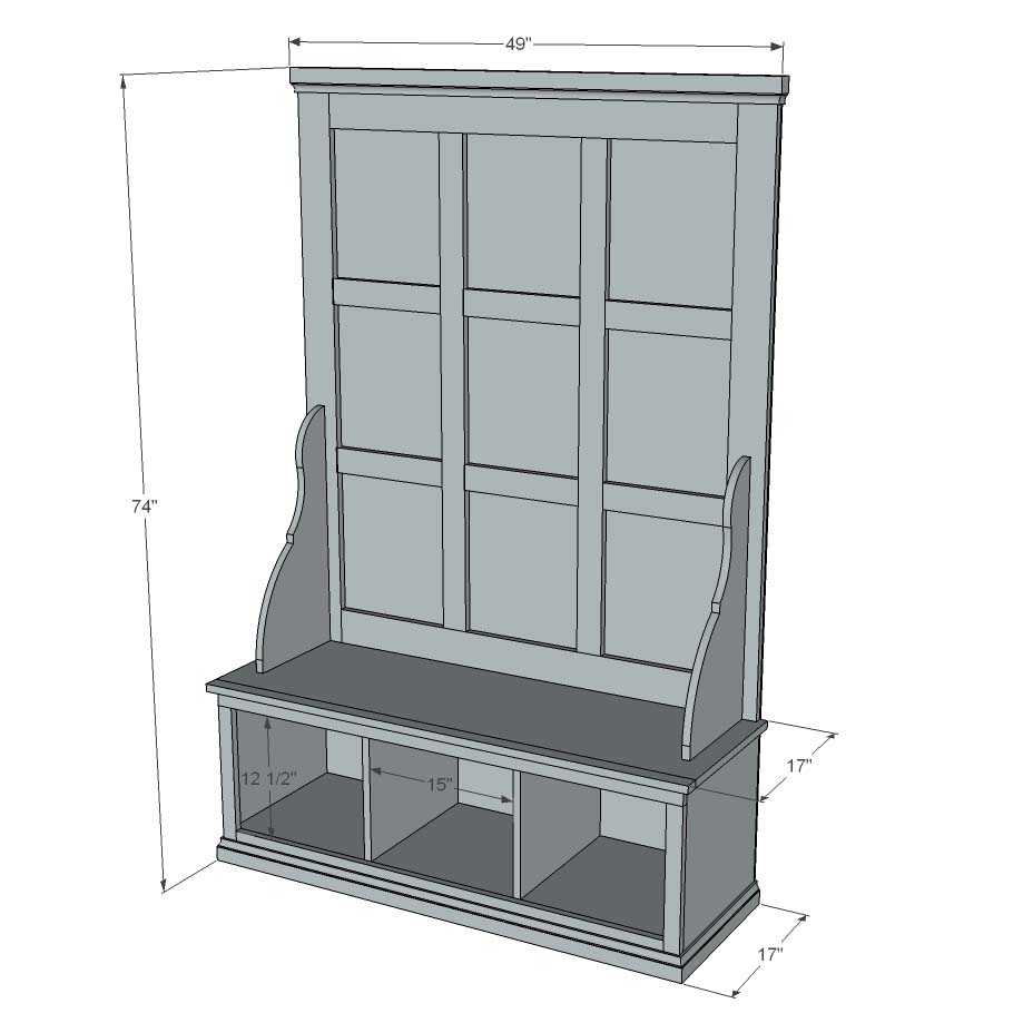 Hall Tree Bench With Shoe Storage Plans