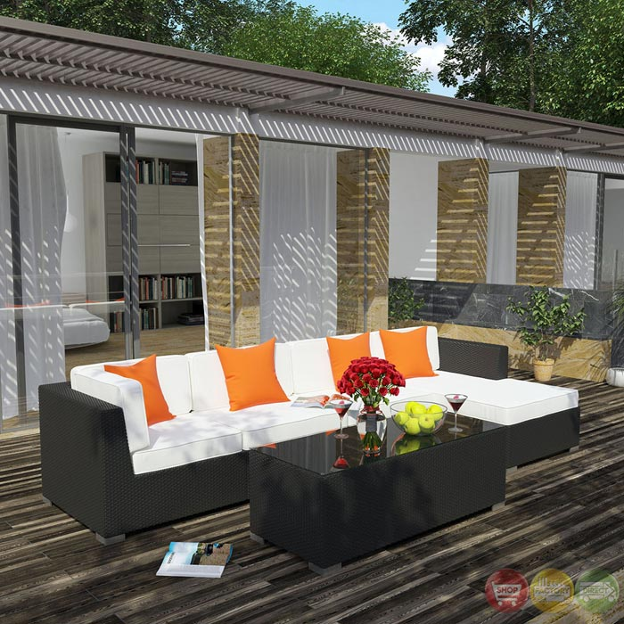 Signal Outdoor Wicker Patio 5 Piece Sectional Sofa Set