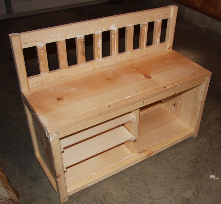 build bench seat shoe rack