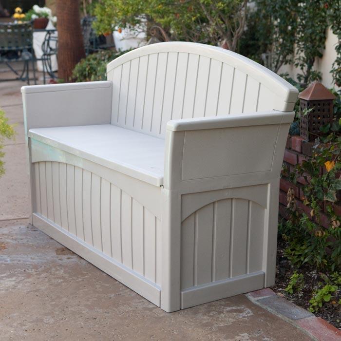 plastic garden storage bench seat furniture