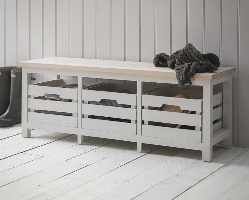 wooden storage bench seat indoors furniture