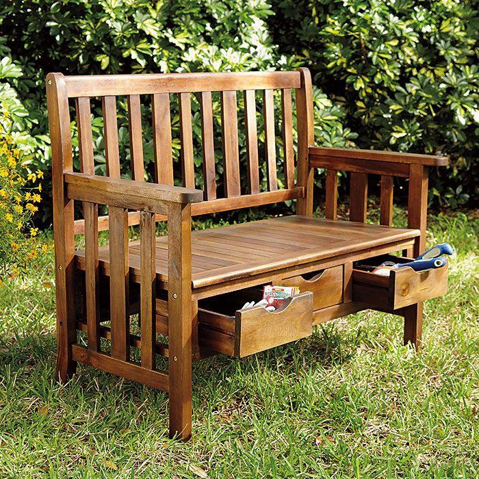 wooden storage bench seat indoors vs outdoors