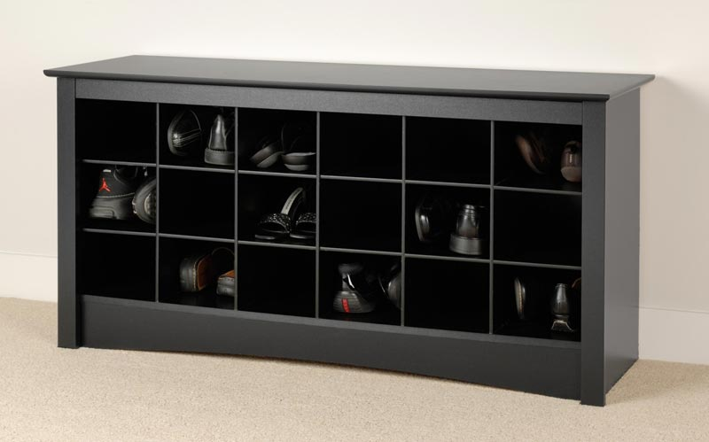 black entryway bench with shoe storage
