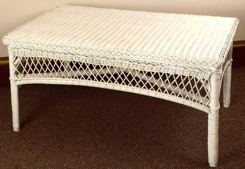 indoor white wicker coffee table
