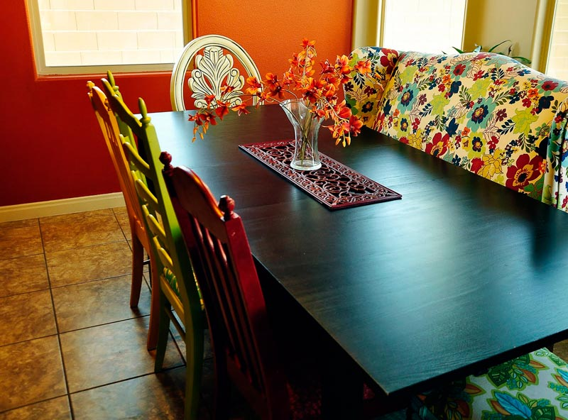 mismatched dining room table chairs