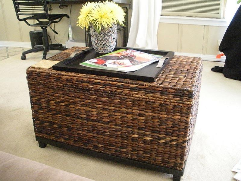 small wicker trunk coffee table