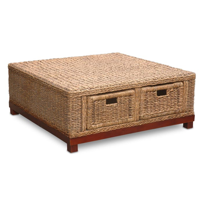 square wicker trunk coffee table