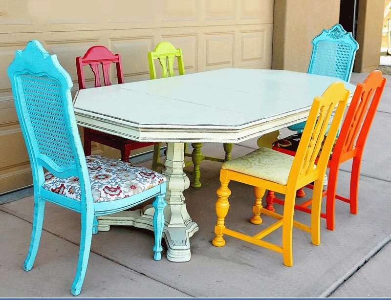 images of mismatched dining chairs