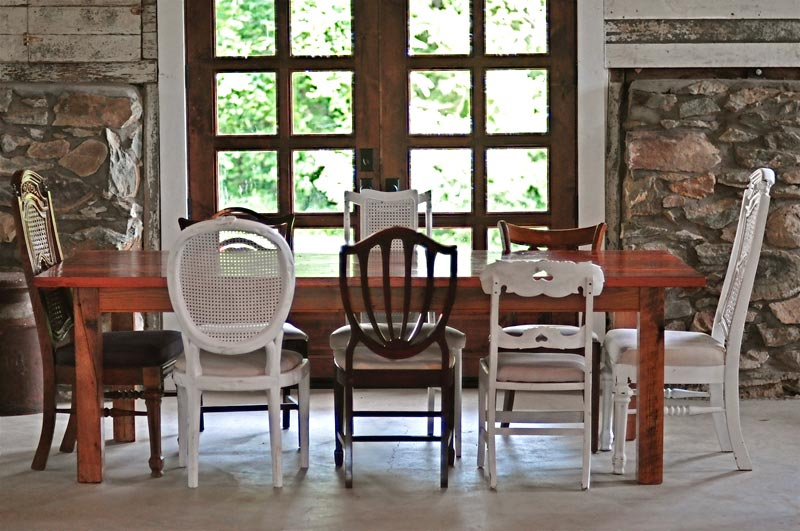 mismatched chairs dining table