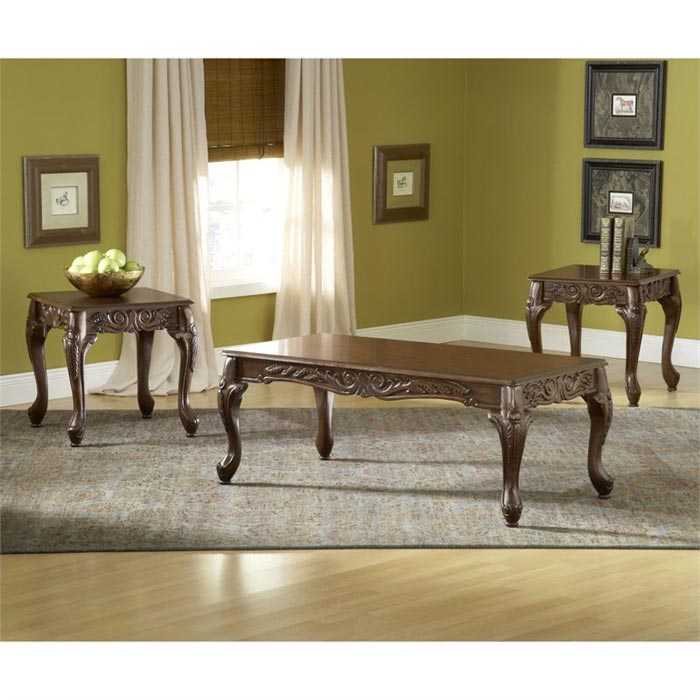 bernards 3 piece carved coffee table set