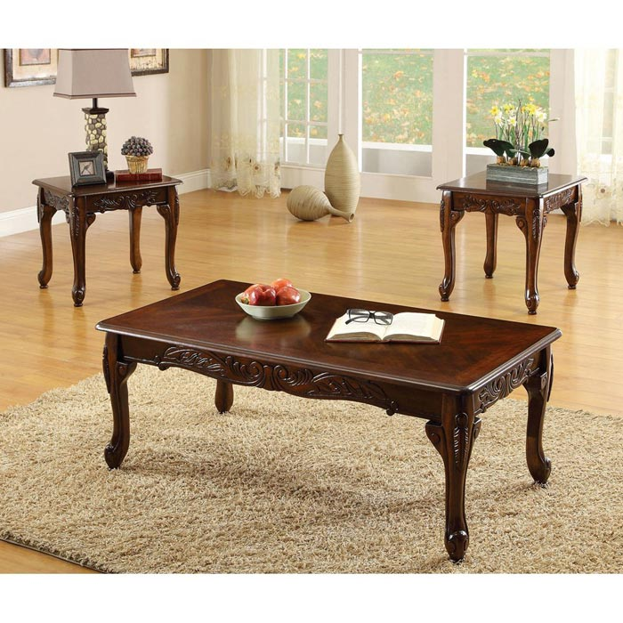 bernards carved cherry 3 piece coffee table set