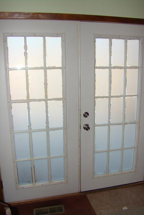 bifold french doors frosted glass