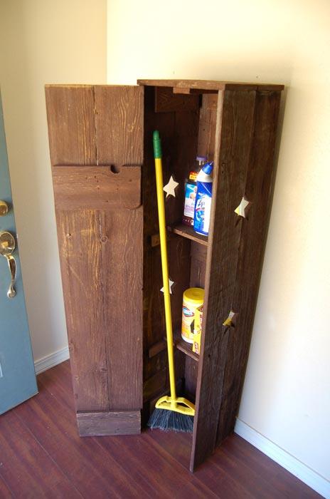 free standing corner broom closet
