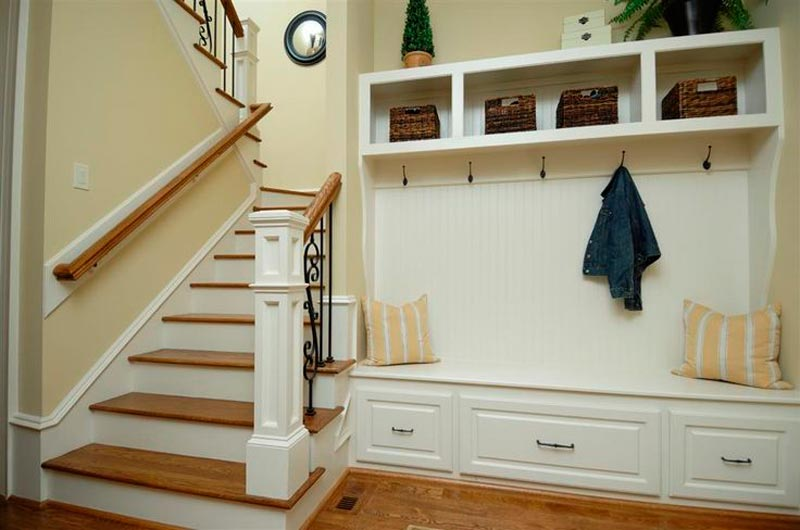 front entrance bench with hooks