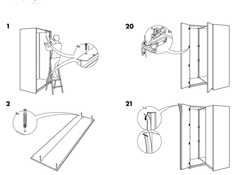 ikea pax corner unit assembly instructions