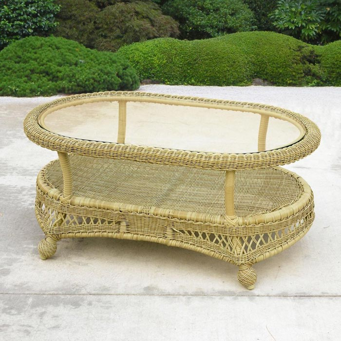 white wicker coffee table glass top