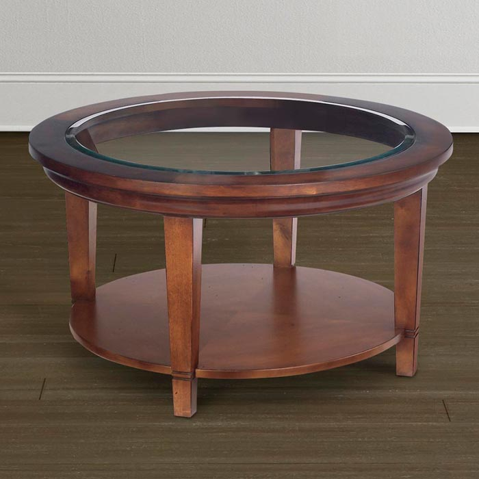 cherry wood and glass coffee table