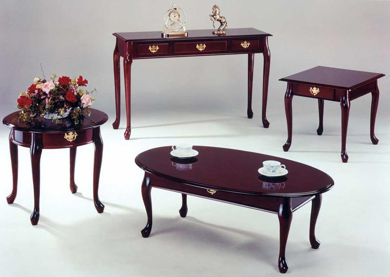 cherry wood coffee table and end tables