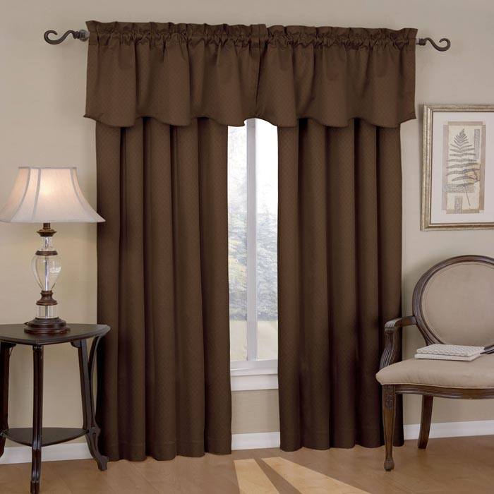 chocolate curtains with valance