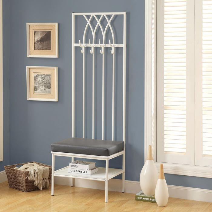 entryway storage bench with coat hooks