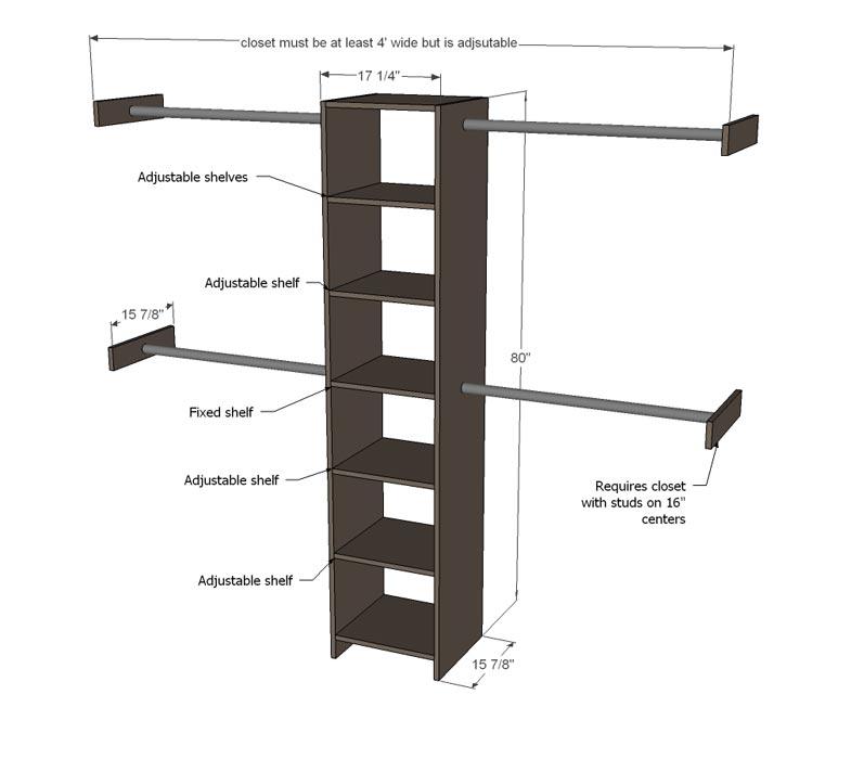 closet rod and shelf dimensions