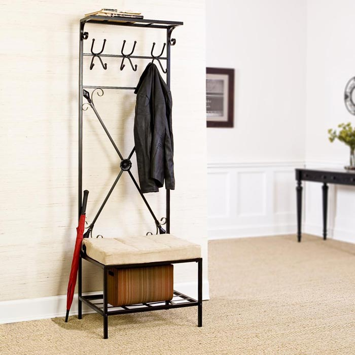 entry bench with storage and coat hooks