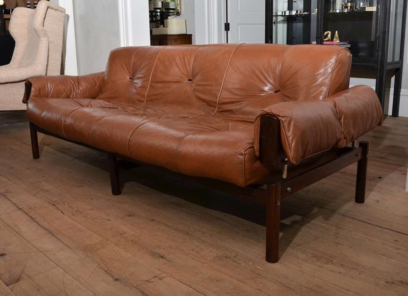 mid century modern brown leather sofa