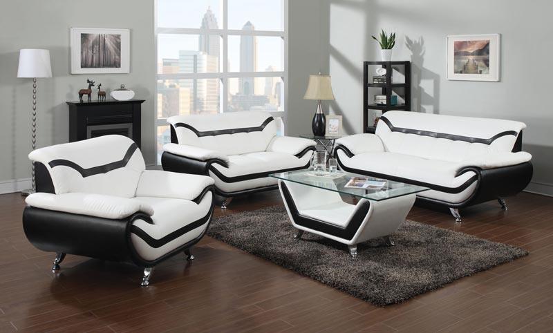 modern black and white leather sofa set