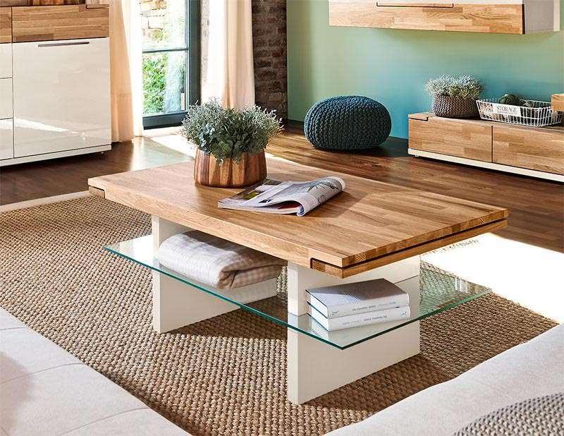 contemporary oak and glass coffee table
