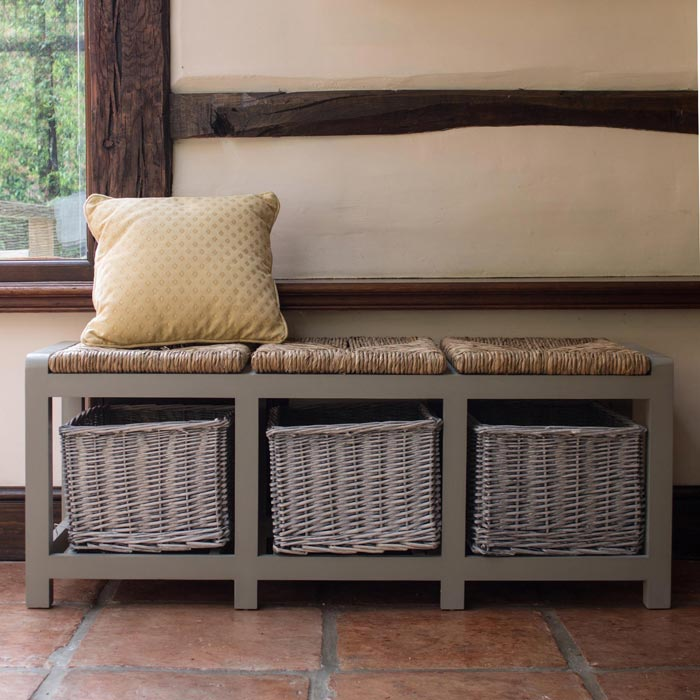 hall bench with baskets uk