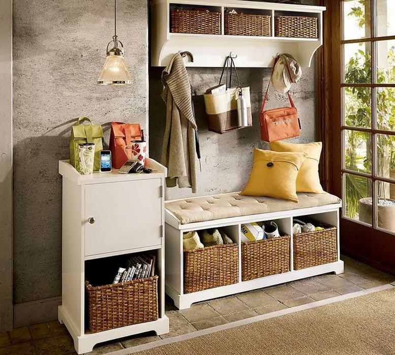 hall storage bench and coat rack