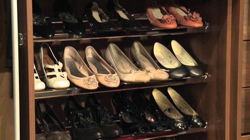 sliding shoe racks for wardrobes