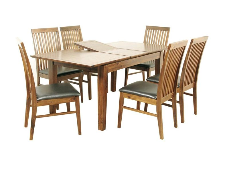 acacia extending dining table and chairs