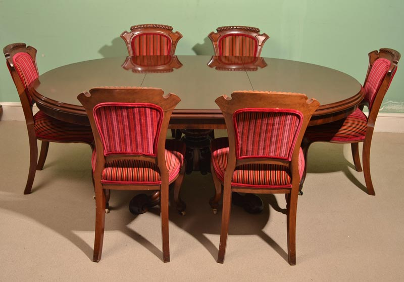 antique extending dining table and chairs